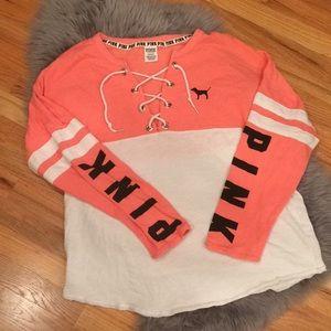 Pink lace up sweatshirt 💕
